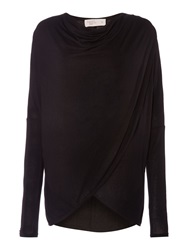 Label Lab Wrap Over Cowl Knit Jumper Black