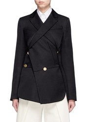 Proenza Schouler Double Breasted Jacquard Wrap Blazer Black
