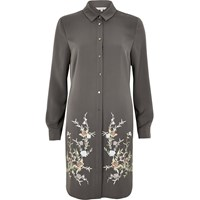 River Island Womens Grey Grey Embroidered Longline Shirt
