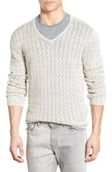 Men's John Varvatos Star Usa Cable Knit Linen V Neck Sweater Chalk