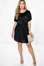 Boohoo Josie Shimmer Crinkle Double Layer Dress Black