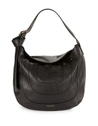 Calvin Klein Nola Textured Hobo Bag Black Gold