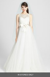 Amsale Women's 'Quinn' French Lace Illusion Bodice Tulle Wedding Dress Ivory