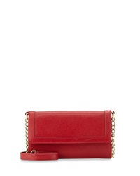 Neiman Marcus Leather Cell Phone Crossbody Bag Red