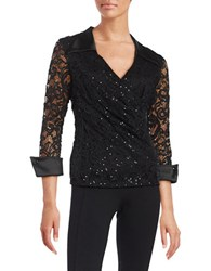 Marina Sequined Lace Top Black
