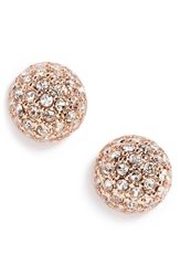 Givenchy Pave Ball Stud Earrings Rose Gold Crystal