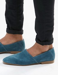 Asos Slip On Loafers In Relaxed Blue Suede Teal