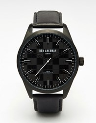 Ben Sherman Big Carnaby Check Watch In Black Black