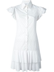 Daizy Shely Ruffle Sleeve Shirt Dress White