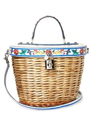 Dolce And Gabbana Majolica Print Leather Wicker Basket Bag White Multi