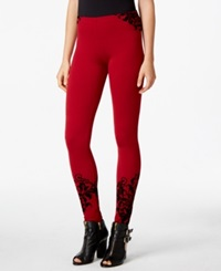 Material Girl Juniors' Contrast Flocked Textured Leggings Only At Macy's Chili Pepper Combo
