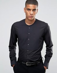 Hart Hollywood By Nick Slim Smart Grandad Collar Shirt With Bib Front Black