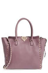 Valentino 'Rockstud Alce' Leather Tote Purple Dark Mauve