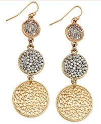 Inc International Concepts Gold Tone Triple Pave Disc Linear Drop Earrings