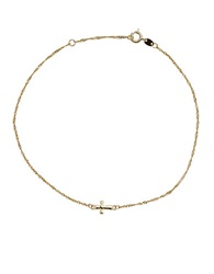 Lord And Taylor 14K Yellow Gold Cross Anklet