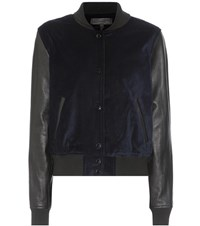Rag And Bone Camden Velvet Leather Bomber Jacket Blue