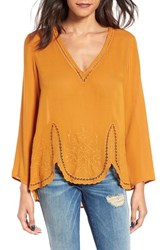 Lush Women's Embroidered High Low Scallop Hem Blouse
