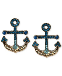 Betsey Johnson Gold Tone Pave Anchor Stud Earrings Blue
