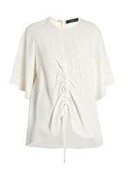 Ellery Riviera Ruched Crepe Top Ivory