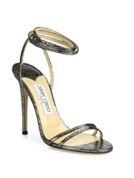 Jimmy Choo Metallic Leather Ankle Wrap Sandals Silver