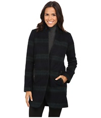 Michael Michael Kors Plaid Menswear Wool Coat Black Green Women's Coat