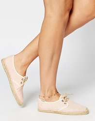 Soludos Derby Lace Up Coral Linen Espadrille Flat Shoes