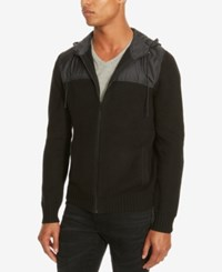 Kenneth Cole Reaction Men's Marled Zip Front Hoodie Black
