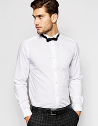 Asos Smart Shirt With Long Sleeve And Wing Collar With Bow Tie White