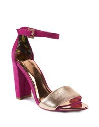 Ted Baker Caiye Leather And Suede Ankle Strap Sandals Purple Silver