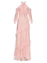 Erdem Aliza Exposed Shoulder Fil Coupe Gown Mid Pink