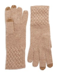 Lord And Taylor Knit Cuff Cashmere Gloves Brown