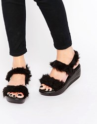 Y R U Yru Flatform Wedge Faux Fur Strap Sandals Black
