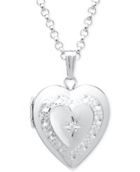 Macy's Diamond Accent Heart Locket Pendant Necklace In Sterling Silver