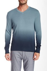 Vince Camuto V Neck French Terry Sweater Blue