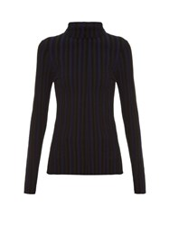 Altuzarra Bessie Long Sleeved Roll Neck Top Black Stripe