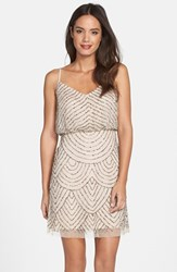 Women's Adrianna Papell Sequin Mesh Blouson Dress Taupe Pink