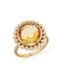 Bloomingdale's Citrine And Diamond Statement Ring In 14K Yellow Gold Orange White