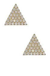 Argentovivo 18K Yellow Gold Plated Sterling Silver Cz Triangle Stud Earrings Metallic