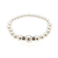 Finesse Graduated Pearl Rondelle Stretch Bracelet White