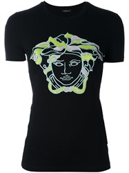 Versace Embroidered Logo T Shirt Black
