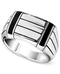 Macy's Men's Sterling Silver Ring Onyx Accent Ring