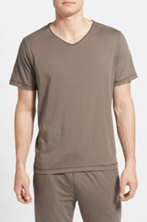 Daniel Buchler Peruvian Pima Cotton V Neck T Shirt Brown