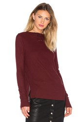 Project Social T Ruby Long Sleeve Boatneck Tee Burgundy