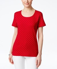 Karen Scott Short Sleeve Polka Dot Print Tee Only At Macy's New Red Amore