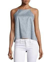 Milly Chambray Twill Trapeze Cami Top Denim