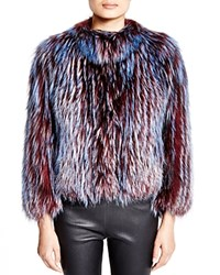 Maximilian Feathered Fox Jacket Bloomingdale's Exclusive Red Blue Multi
