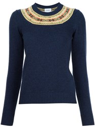 Barrie Fair Isle Detail Jumper Blue