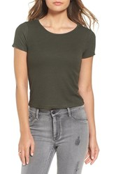 Socialite Women's Stripe Rib Knit Crop Tee Olive Black