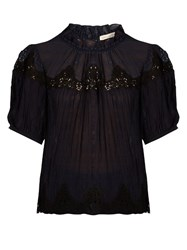 Rebecca Taylor Macrame Lace Panelled Silk Blouse Navy