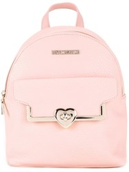 Love Moschino 'Heart' Fastening Mini Backpack Pink Purple